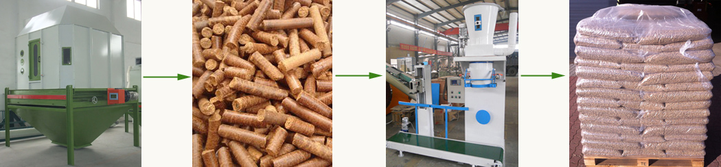 coconut shell pellet cooling and packing