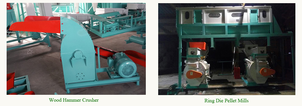 wood hammer crusher and ring die pellet mills